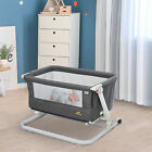 Qaba Baby Bassinet Foldable Adjustable 0-5 months Artificial Cotton Breathable