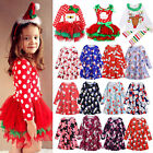 Kids Girls Swing Tutu Dress Santa Reindeer Princess Dresses Red Outfits Costume
