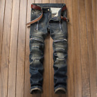 Men Jeans Ripped Frayed Hole Denim Pants Biker Hip Hop Printed Trousers Faded US