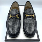 Gucci Men's Black Leather Herringbone Horsebit Loafer Shoes