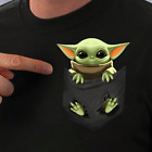Baby Yoda Pocket T-shirt Star Wars T-Shirt Size S-5XL Funny Tee Top $11.99 USD on eBay