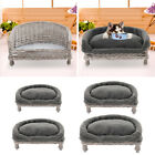 Handmade Wicker Pet Cat Dog Sofa Couch Cushion Blanket Bed Sleeping Nest