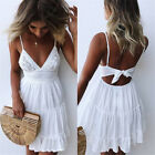 Boho Womens Plus Size Strappy V Neck Lace Ruffle Ladies Summer Beach Mini Dress
