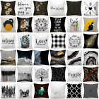 Cushion Cover White Black Soft Double Sided Decorative Throw Pillow Case 18x18