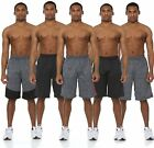 5 Pack: Men's Active Performance Athletic Basketball Gym Knit Shorts with...