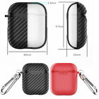 Silicone Case Cover Carbon Fiber Texture Protective Skin For Apple AirPods 1 2