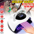 168W 45 LED Nail Dryer Lamp Gel Polish Curing UV Light Pro Manicure Machine
