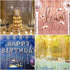 Metallic Foil Fringe Curtain Tinsel Photo Backdrop Party Birthday Decor 3.2*9.8F