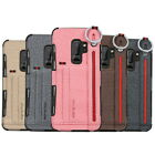 For Samsung S9 S8 Plus Note 8 Luxury Card Slot Hand Strap Canvas TPU Case Cover