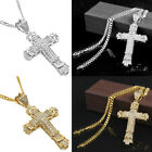 Crystal Cross Necklace Christian Crucifix Chain Unisex's Diamond Pendant Jewelry