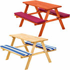 Children's Picnic Table Kids 2 Cushions Garden Bench Camping Set Outdoor Patio