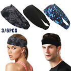 6Pc Women Men Sweat Sweatband Headband Yoga Gym Running Stretch Sports Head Band