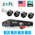 Zoohi 1080P HD 4/8CH CCTV Security Camera System Outdoor AHD P2P Set NightVision