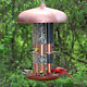 Copper Finish Triple Tube Bird Feeder Holds 10lb Seed Removable Plastic Seed NEW photo