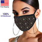 2020 Hot Women's Crystal Glitter Rhinestone Sparkle Bling Reusable Face Masks