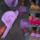 LADIES FAUX FUR SLIDERS SNDDLES WOMENS FURRY FLUFFY SLIPPERS FLIP FLOP SHOES UK