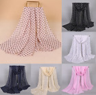 160 50cm Women's Wrap Shawl Polka Dot Chiffon Scarf Scarves Stole 10 Colors New