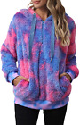 ReachMe Womens Oversized Tie Dye Sherpa Hoodie with Pockets Fuzzy Fleece Sweatsh