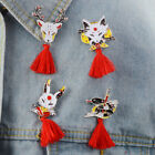 Vintage Animal Alloy Tassel Brooch Rabbit Fire Fox Enamel Pin Backpack Badge Wf