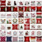 Pillow Cover Christmas Home Decor Red White Bed Double-sided Cushion Case 18x18""