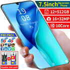 """Cheap Unlocked 7.5"""" Android10.0 Mobile Smart Phone 10 Core Dual Sim Wifi Gps 5g"""