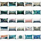 "12x20"" Teal White Decorative Cushion Cover Double-sided Lumbar Throw Pillow Case"