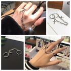 Punk Cross Adjustable Hip Pop Chain Joint Finger Ring Gothic Ring Jewelry Uk