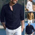 Mens Long Sleeve Linen Shirt Loose Casual V-Neck Henley T-Shirts Blouse Tee Tops