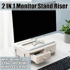 Adjustable Monitor Riser Stand and Computer Desk Organizer with Drawer 9
