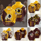 Washington Redskins Hoodie Football Sweatshirt Men Casual Jacket Hooded Pullover