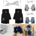 1 Pair Electric USB Heated Gloves Winter Full&Half Fingers Warm Knitted Mitten