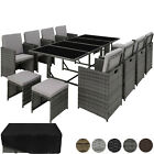 Poly Rattan Garden Furniture Set 12 Seater Chair Stool Table Dining Wicker Patio