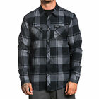 Sullen Men's Oil Stain Flannel Buttondown Shirts Black Clothing Apparel