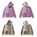 A BATHING APE WOMENS DESERT CAMO PANEL SHARK FULL ZIP HOODIE 2 Colors New F/S