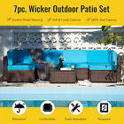 7pc Outdoor Furniture Set Sectional Sofa Table For Garden Yard More Walnut