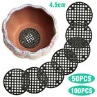 50/100pcs 4.5cm Black Plastic Round Flower Pot Hole Mesh Pad Bottom Grid Mat New