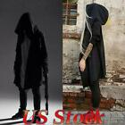 US Men Steampunk Gothic Jacket Long Hooded Trench Vintage Coat Casual Outwear