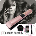 Portable USB Rechargeable 2in1 Hair Straightener Curler Flat Iron W/ Power