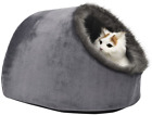 VERTAST Cat Small Dog Cosy Bed Pets Igloo Bed Hideout Cave, Cushion Washable, Gr