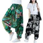 womens floral loose ethnic style bloomers cotton linen baggy pants trouses chic