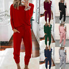 Women Fashion O-neck Pullover Long Sleeve Bandage Loose Pants Sweatsuits Outfit
