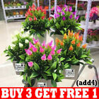 Artificial Flowers Fake Foliage Plant With Pot Outdoor Home Office Decoration R3