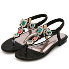 Womens Toe Post Sandals Holiday Slip On Back Strap Diamante Soft Soft Shoes US