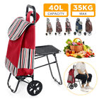 Foldable Shopping Cart Trolley Pack with Chair Folding Grocery Basket
