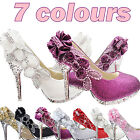 7color Vogue lace Flowers Crystal High Heels Wedding Bridal dancing party Shoes