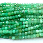Veemake Natural Genuine Green Chrysoprase Faceted Cube Faceted Irregular Beads