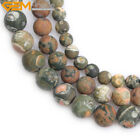 "Forested Matte Green Rhyolite Jasper Natural Gemstone Loose Beads 15"" 8mm 10mm"