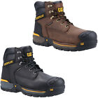 CAT Excavator Safety Boots Mens Waterproof Leather Hiker Caterpillar Work Shoes