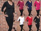 Long Line Cotton Lycra Top.  Black Navy Red Mulberry