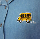 SCHOOL BUS Driver denim vest med TEACHER blue-jean embroidery 1980s beat-up